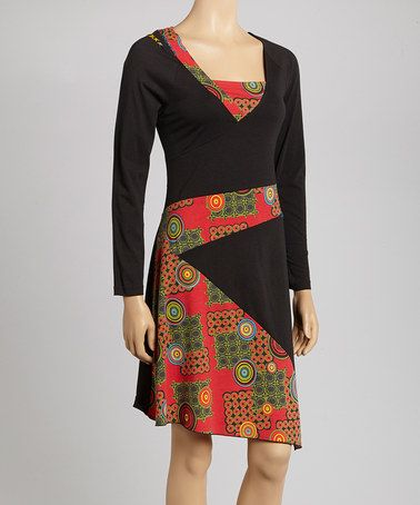 Black & Red Graphic Dress by Coline USA on #zulily