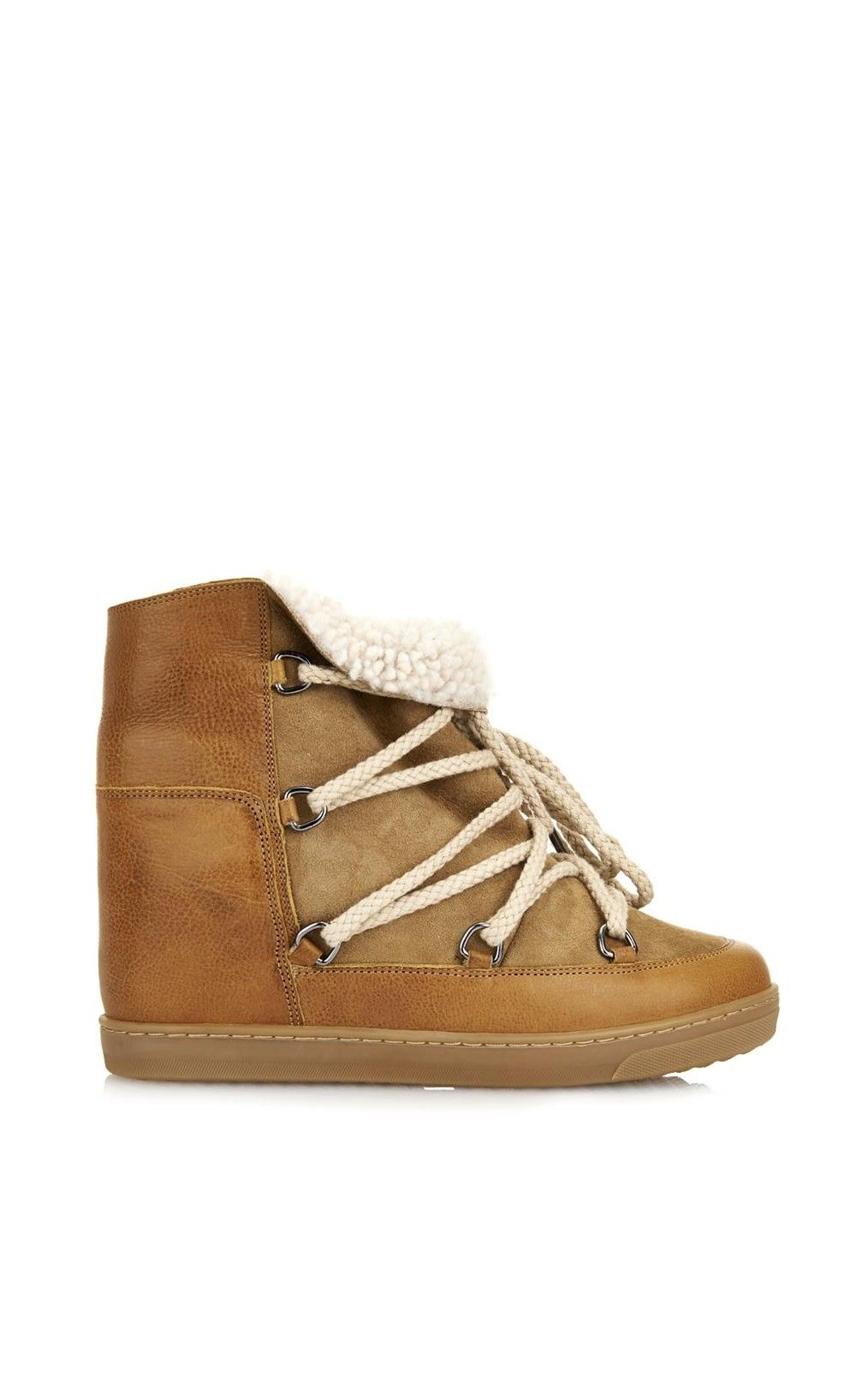 ad952c799ca Isabel Marant Nowles Shearling-Lined Leather Concealed Wedge Boots Camel - Isabel  Marant #IM #boots #fashion #leather #lifestyle