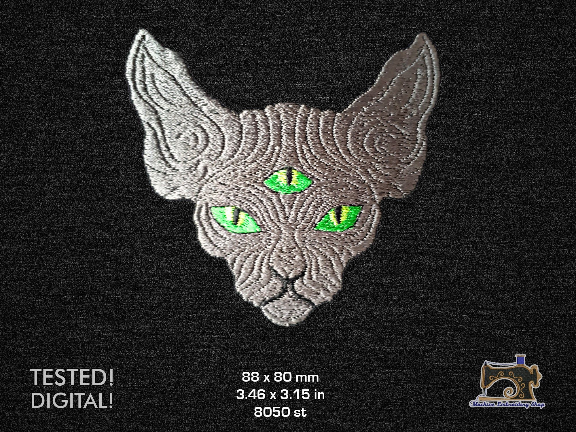 ThreeEyed Sphynx Cat face Machine embroidery design for a
