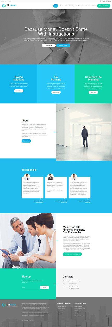 75 Financial Advisor Responsive Website Template Design