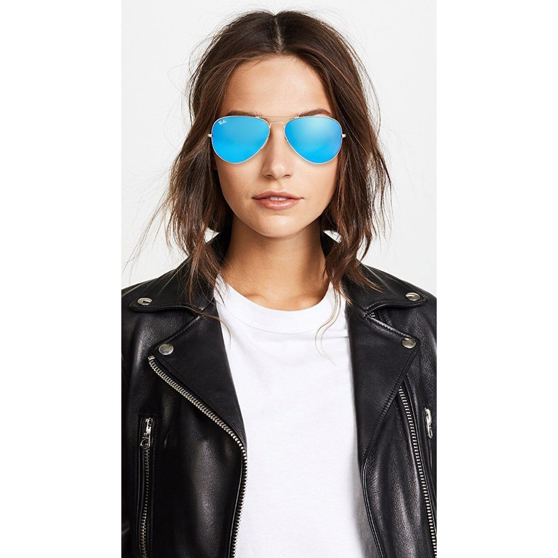 ray ban aviator matte gold blue mirror