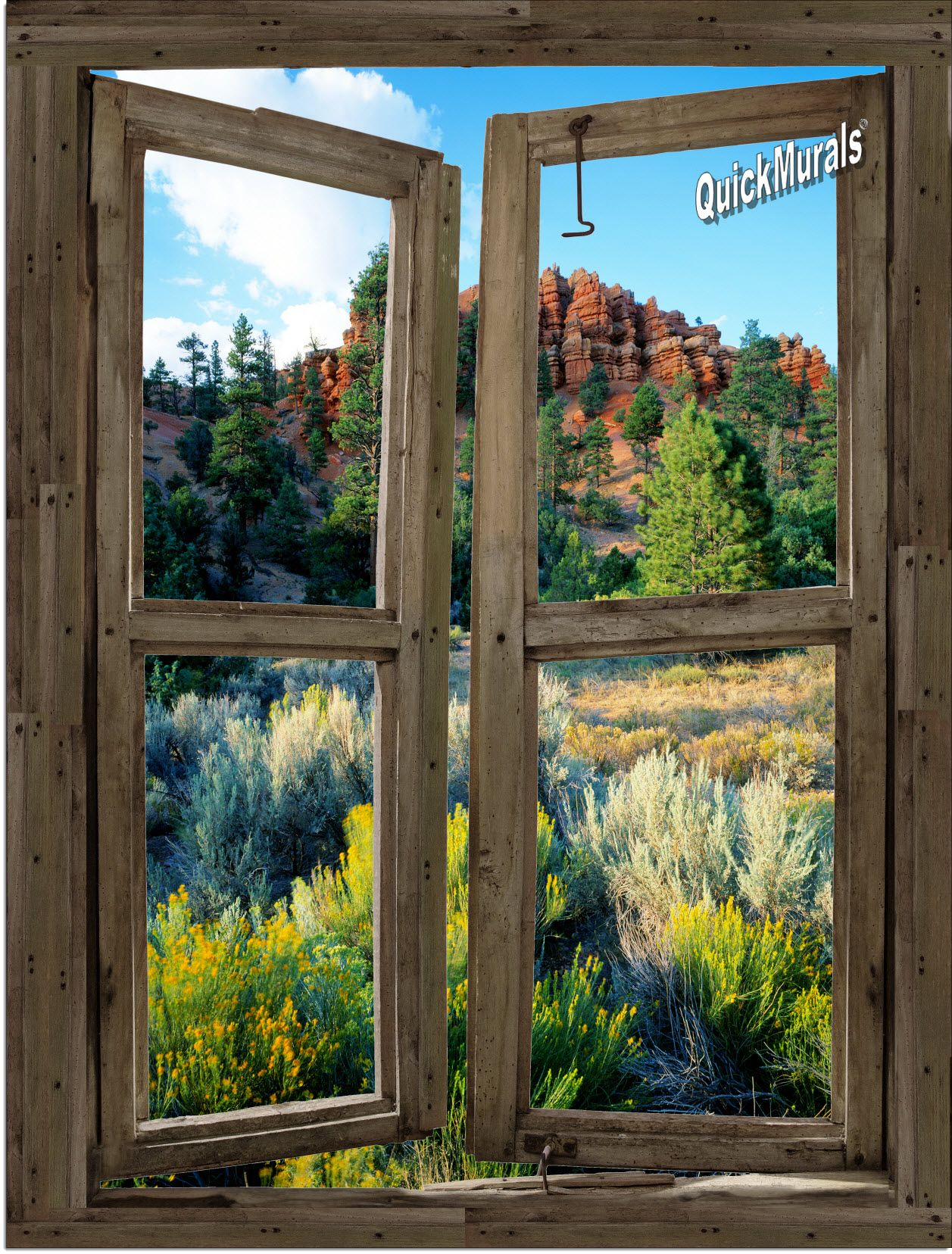 Desert Cabin Window Peel Stick 1 Piece Canvas Wall Mural