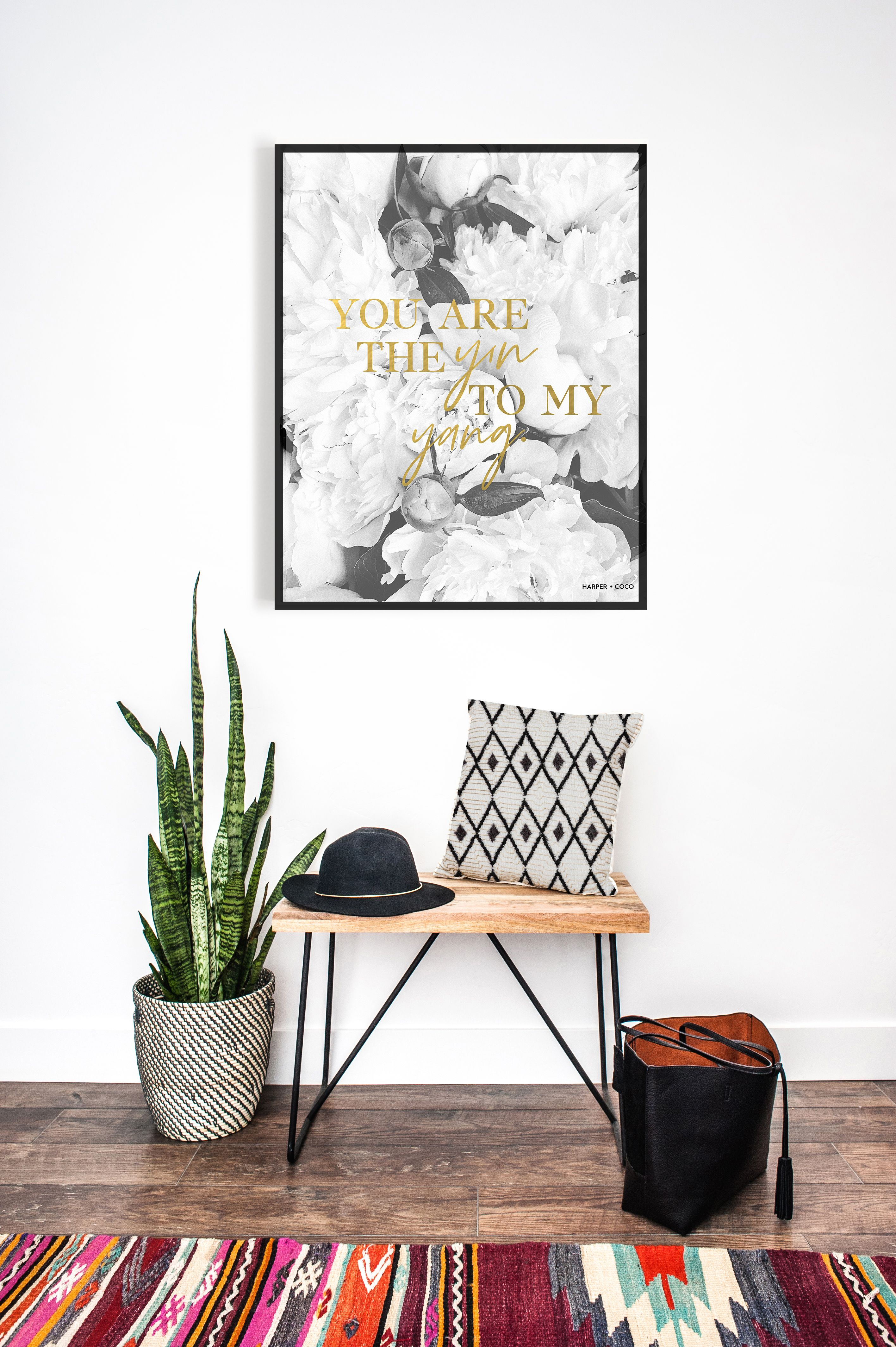 You Are The Yin To My Yang Wall Art Black And White Floral Digital Print Gold Quote Digital Download A Chic Wall Art Bohemian Wall Art Motivational Wall Art