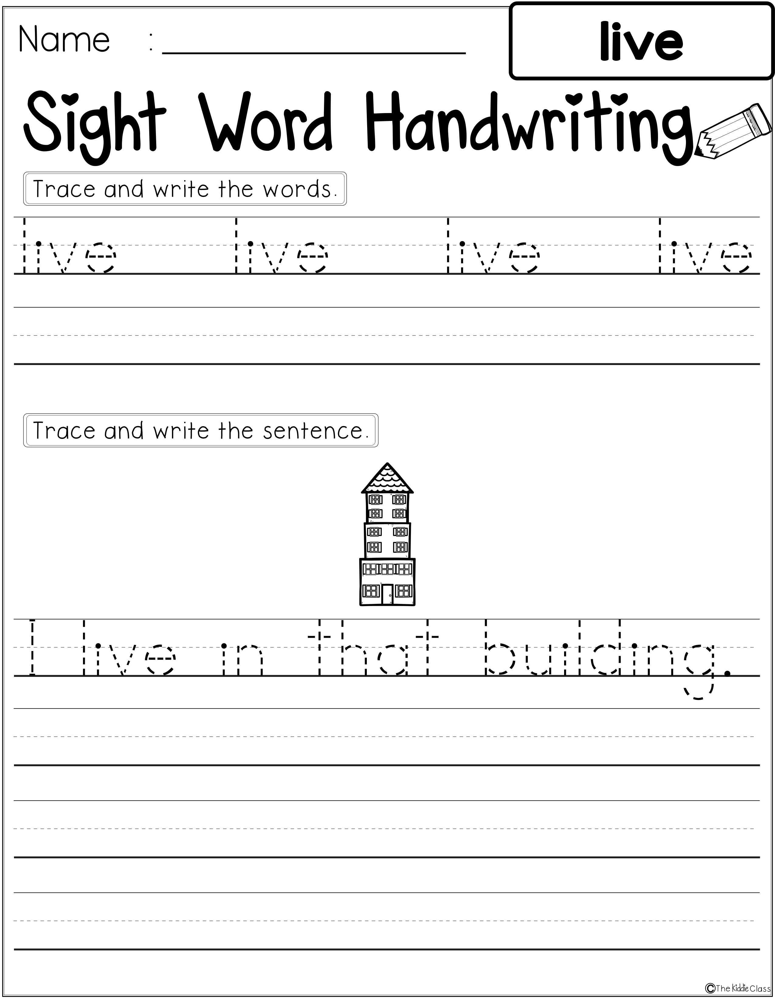 Sight Words Handwriting First Grade With Images