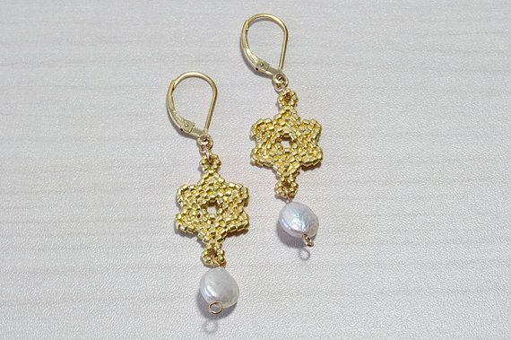 Gold plated brass and pearl Earrings Star of by RavitAshkenazi, $57.00