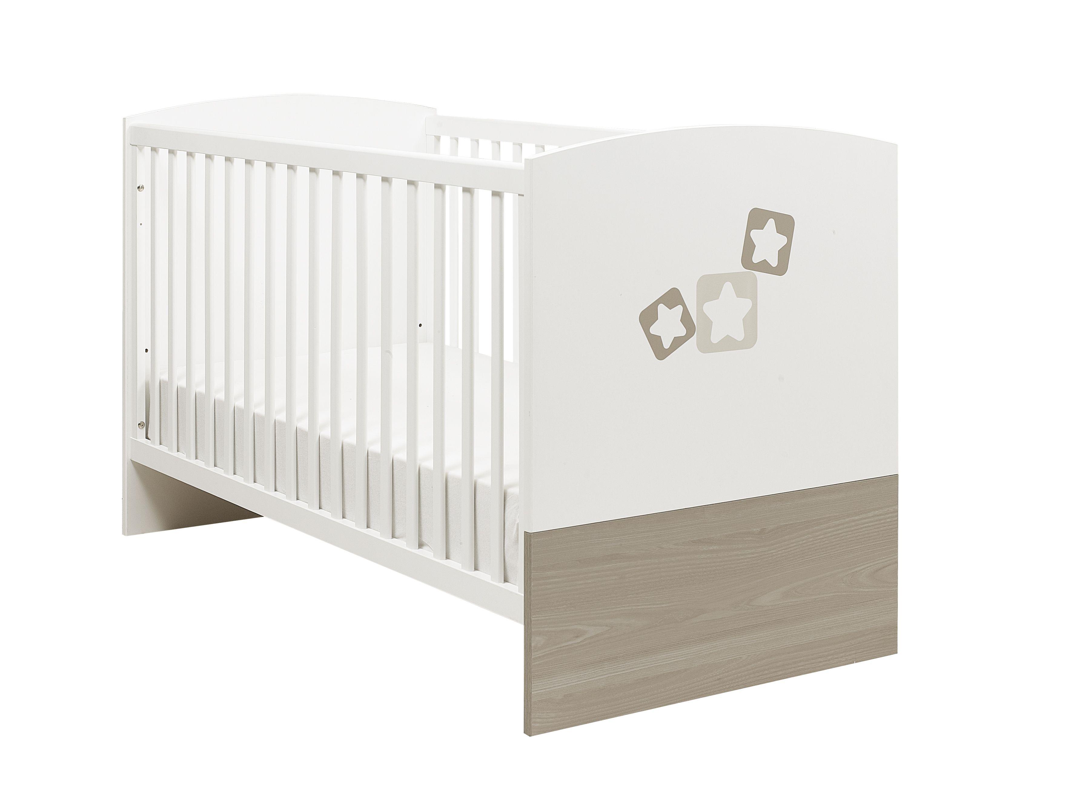 Lit Bébé évolutif X NOE Frêne Gris Et Uni Blanc - Lit bebe pas cher
