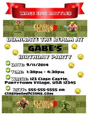 Clash of Clans Invite Clash if Clans Invitation Pinterest