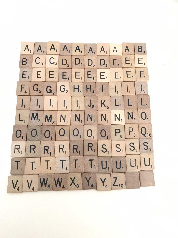 100 official Scrabble tiles, full set, scrap booking
