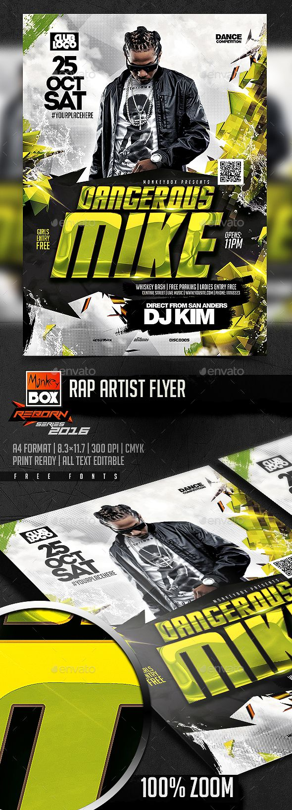 rap artist flyer psd template monkeybox download https