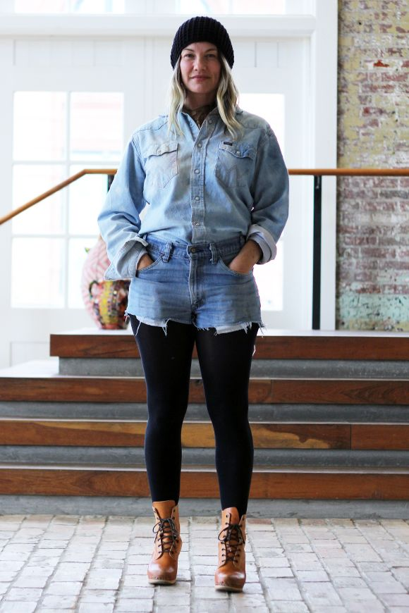 d6f8d40d1810e MEGA curvy-girl-double-denim-shorts-over-leggings-with-a-beanie-and-silly- boots INSPIRATION. Perhaps I CAN pull this off in public (without working  at ...