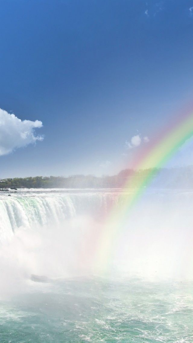 Niagara Falls Rainbow Canada Iphone 5 Wallpapers Backgrounds 640 X 1136 Rainbow Waterfall Travel Around The World Landscape