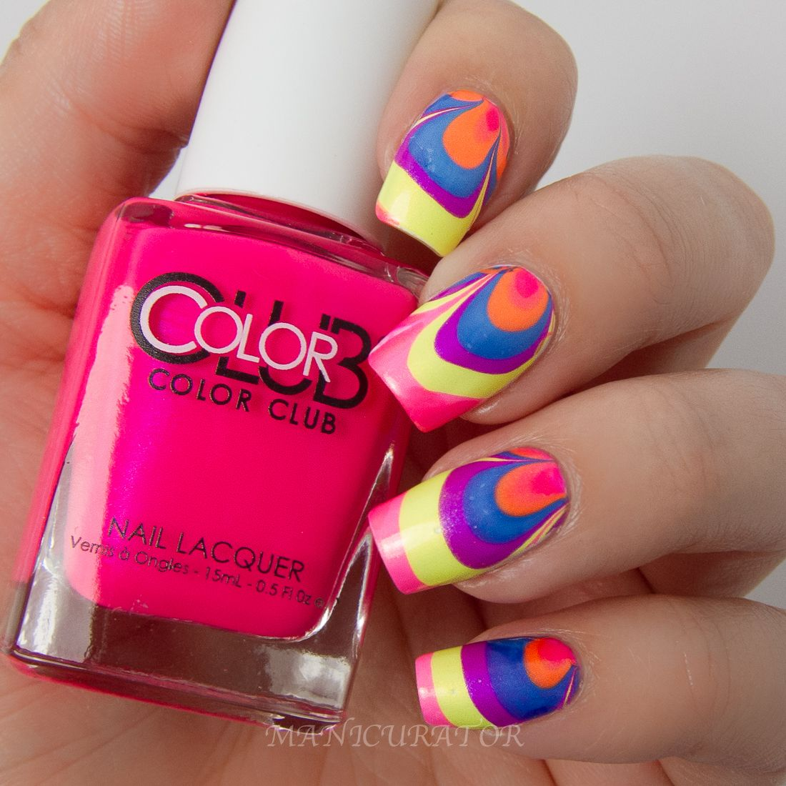 Color Club-Poptastic-Neon-Watermarble-Nail-art | Swell Nail Art ...