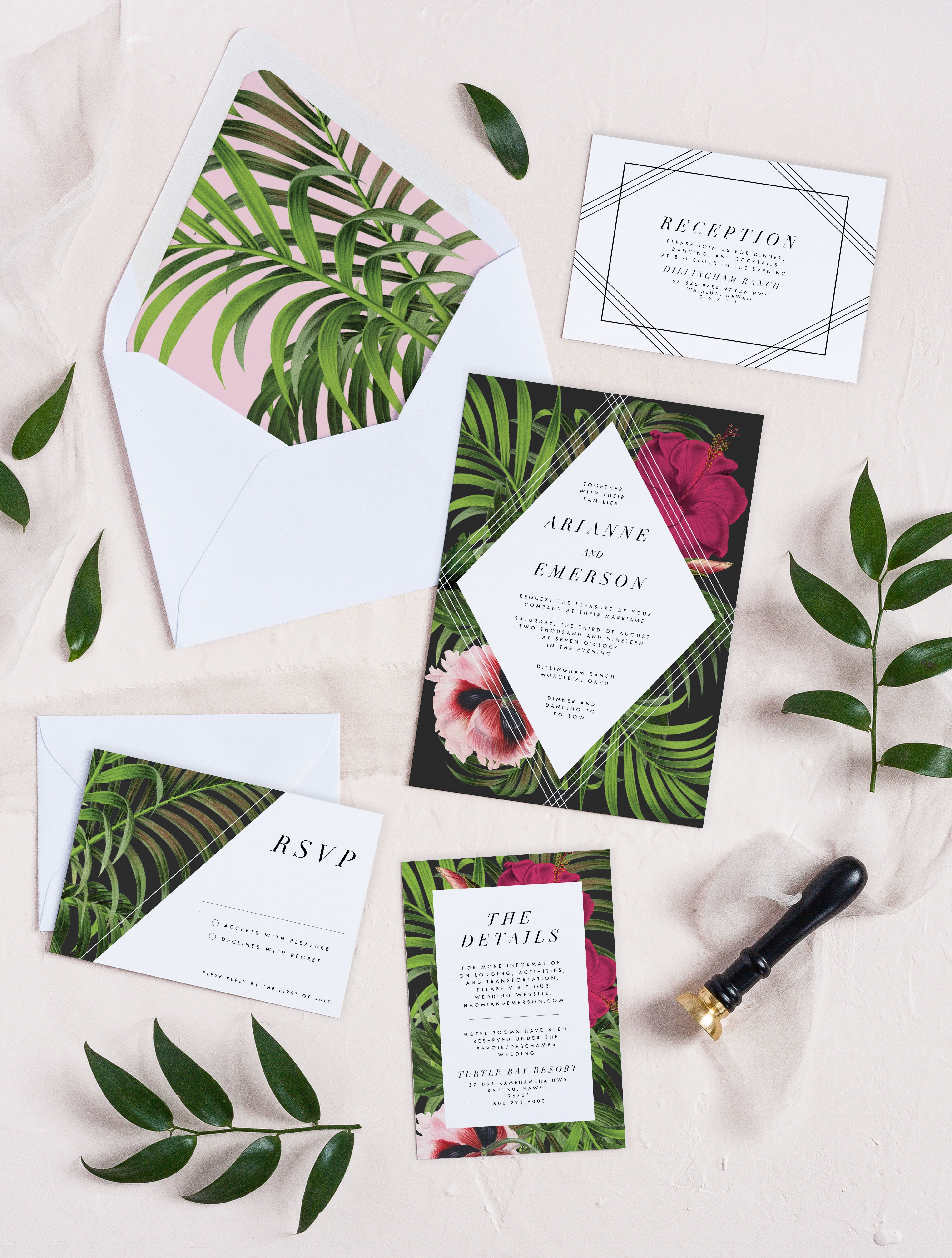 This Gorgeous Tropical And Floral Wedding Invitation Set Features Modern Fonts A Tropical Wedding Invitations Wedding Invitation Sets Cheap Wedding Invitations