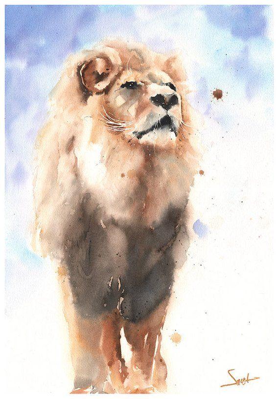 WATERCOLOR LION PRINT-Löwendekor, Löwenwandkunst, Löwendedekoration, Löwen-Kunstdruck, Löwen-Kunstgarten, Löwen-Kunstwerk, Tierdruck