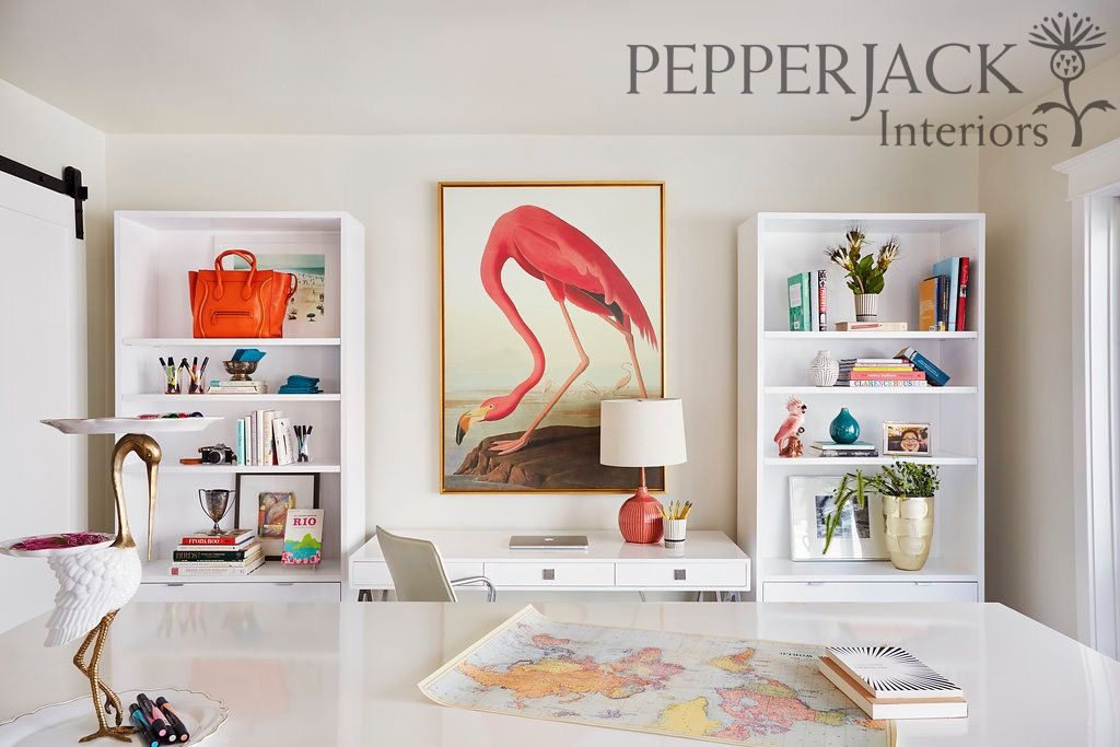 Contemporary light and bright office with pops of orange and rosy pink.