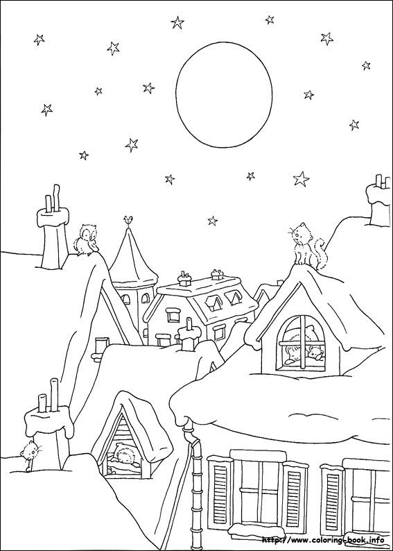 christmas coloring picture    winter scene showing 2 cats and an owl up on the rooftops of some