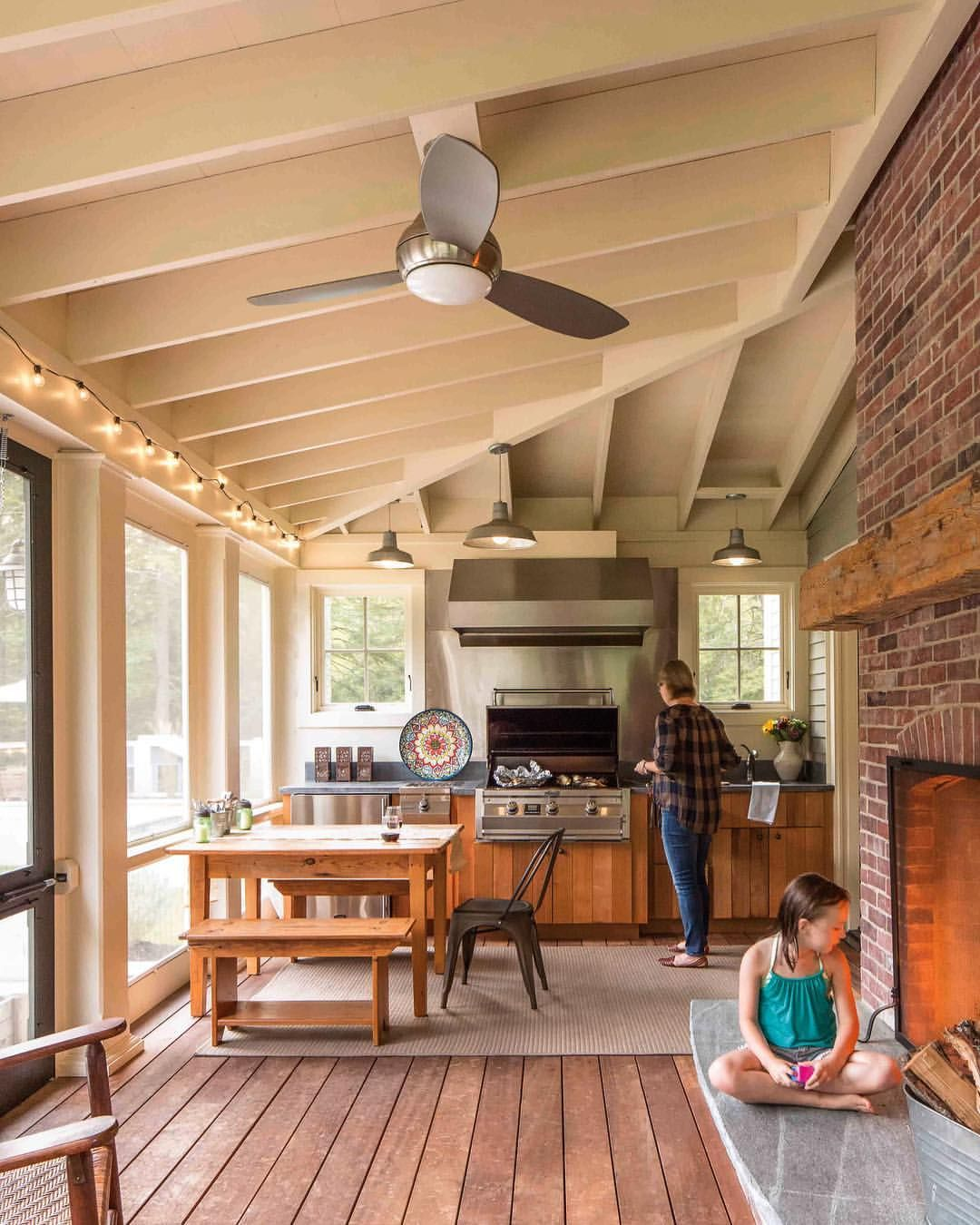 A large screened porch off the living area with an outdoor