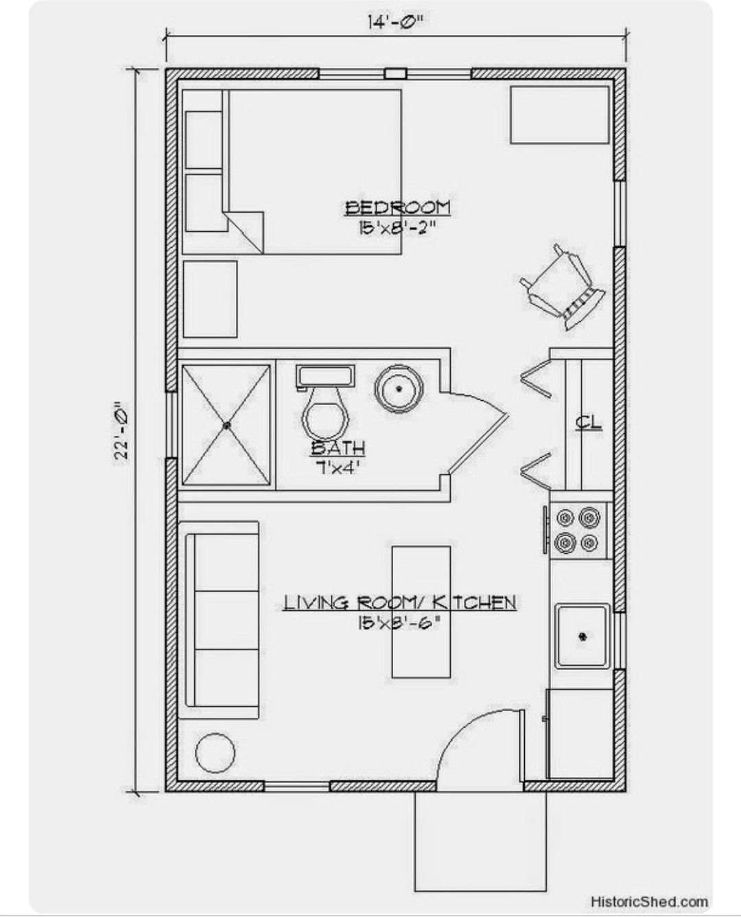 Small House 14x22 1 Bedroom Ecohouselayout Tiny House Floor