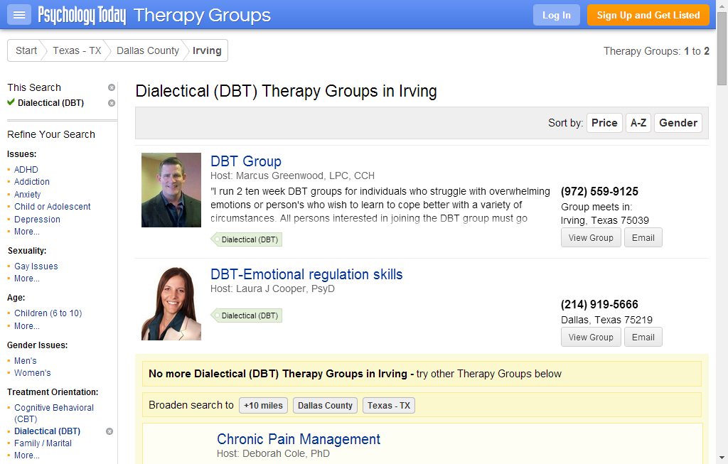 Irving Dialectical (DBT) Support Groups Dialectical (DBT