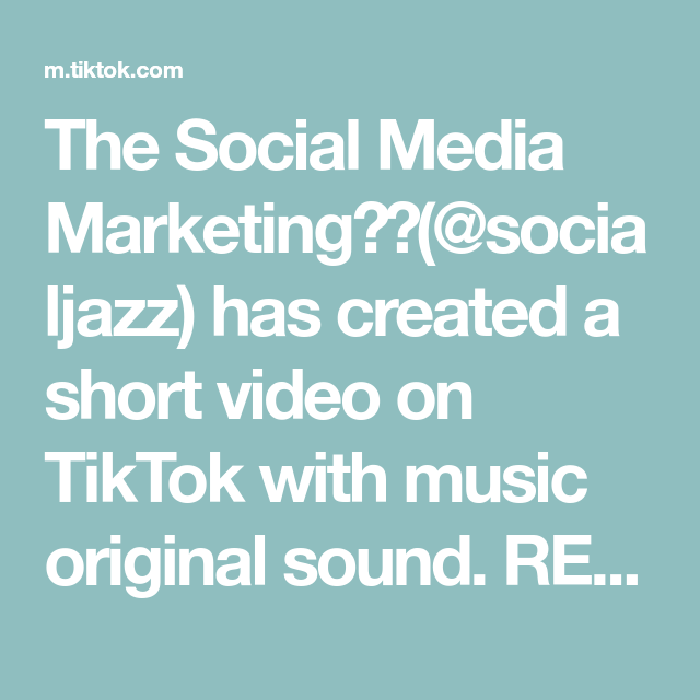 The Social Media Marketing👸🏽(@socialjazz) has created a short video on TikTok with music original sound. REPOST** - For my new followers this ones important! #marketingtiktok#smallbiztiktok#smallbiztips#marketingtips#socialmediamanager#smallbusinesstips_