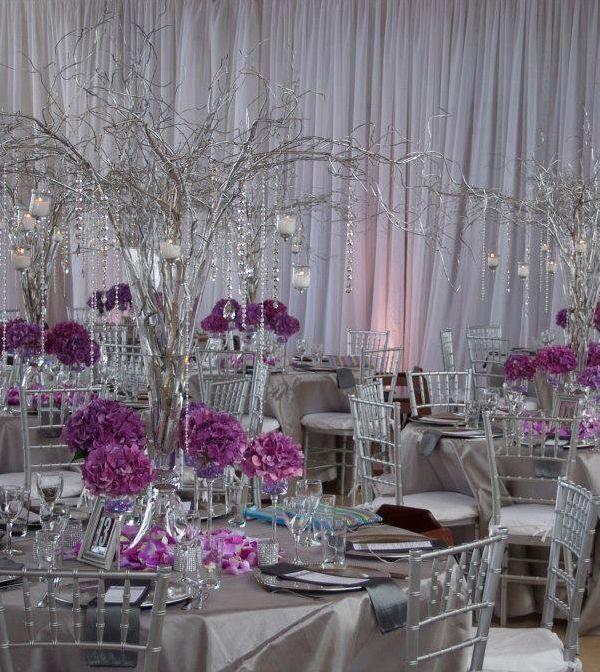Make A Statement With Impressive Wedding Centerpiece Ideas Amazing Purple And Silver Black Tie Glam