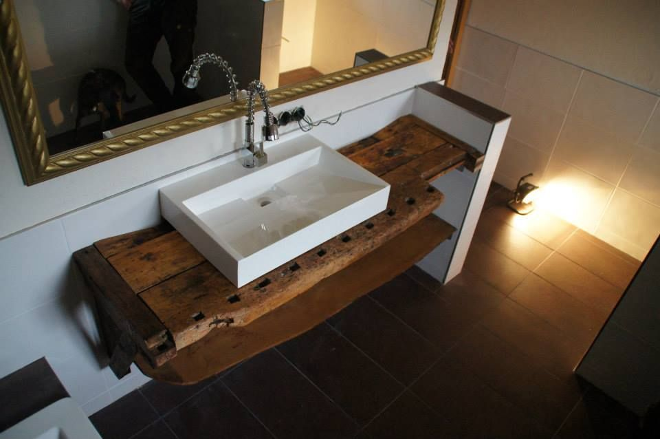 Waschtisch aus werkbank inn b der pinterest waschtisch badezimmer und bad tisch - Badezimmer tisch ...