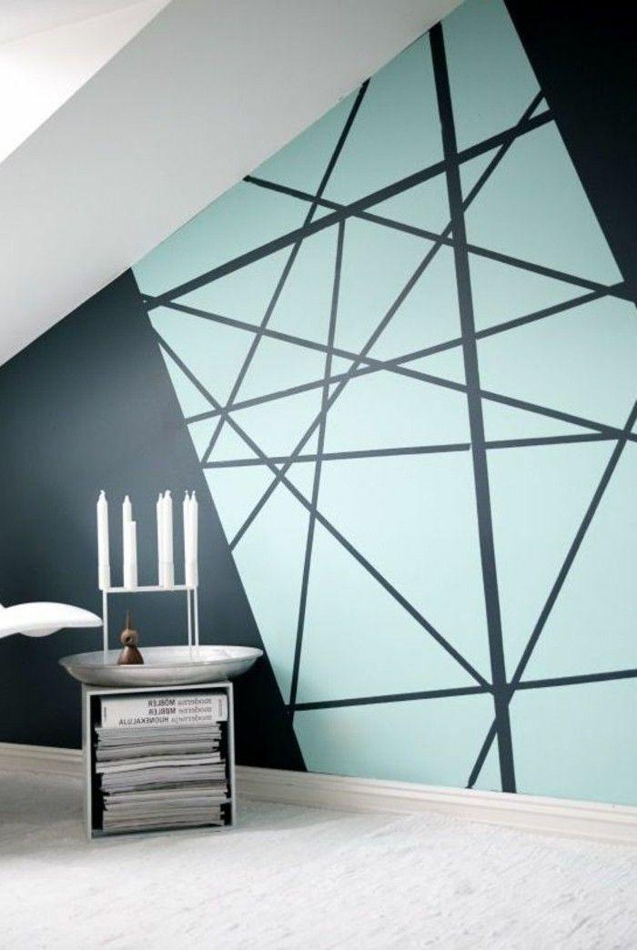 Geometrische Formen - tolle Wandgestaltung mit Farbe - Archzine.net #wanddekowohnzimmer