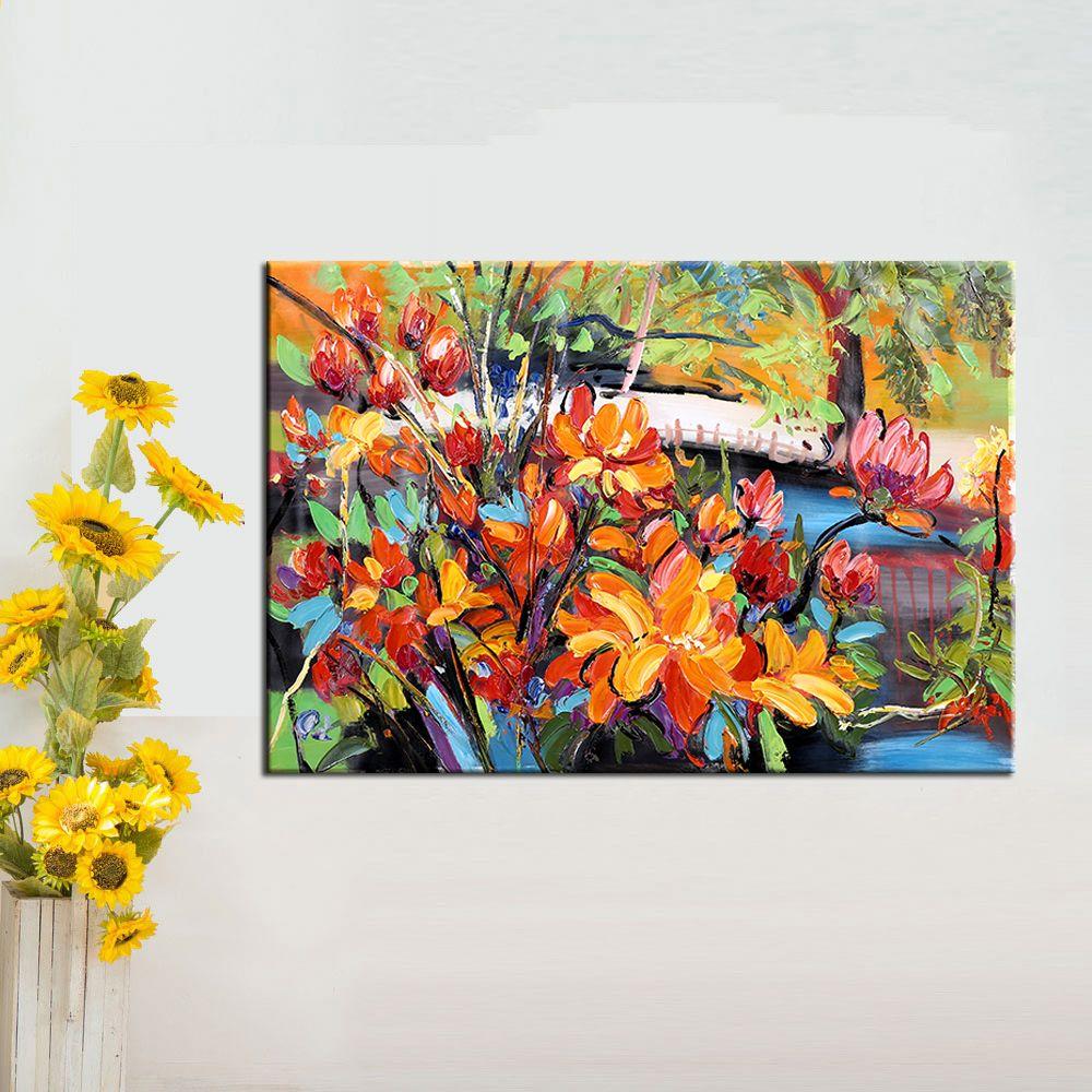 Wall Art Ręcznie Malowane Nowoczesny Kwiat Obraz Olejny