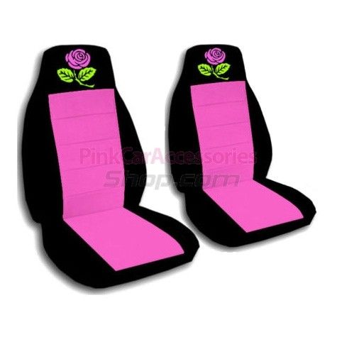 Hot Pink and Black Rose Car Seat Covers