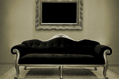 Black And Gold Or More Like Pewter This Couch Becomes Very Contemporary With Simple Roach To Recovering It The Velvet Fabric