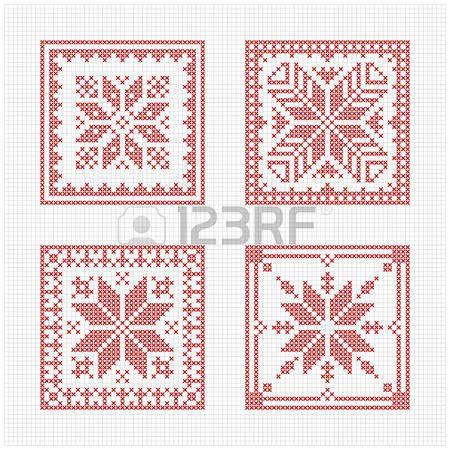 Conjunto de azulejos, patrón de punto de cruz escandinava. biscornu ...
