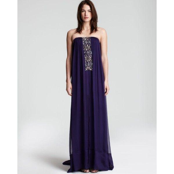 "Comfort!  BCBGMAXAZRIA ""Exene"" Strapless Beaded Dress found on Polyvore"