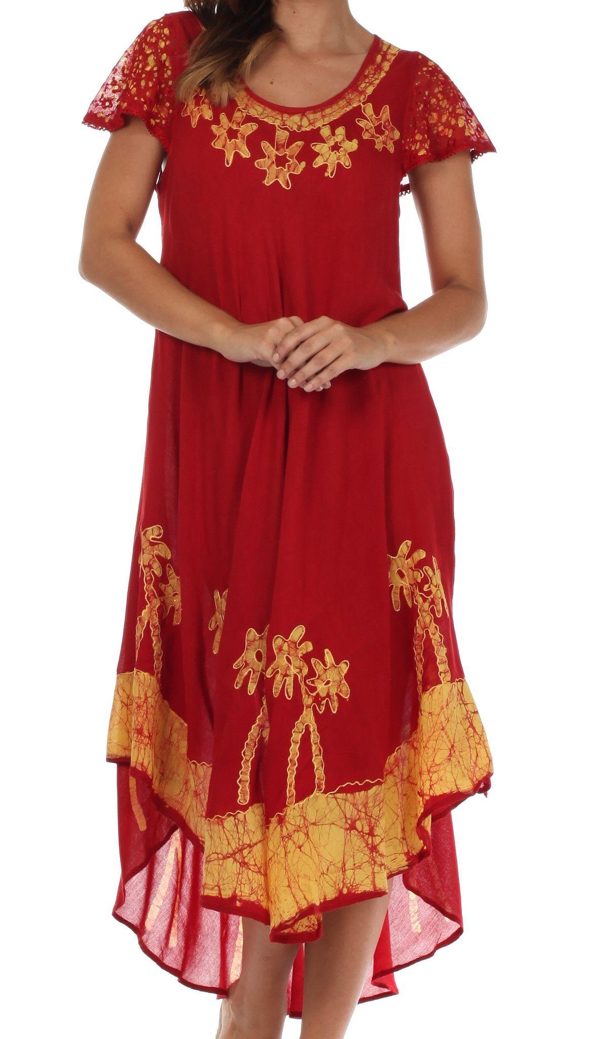Sakkas Batik Palm Tree Cap Sleeve Caftan Dress Cover Up