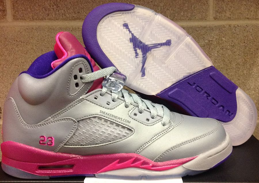 sale retailer f7957 c848c Air Jordan V GS Cement Grey Pink Flash Raspberry Red Electric Purple