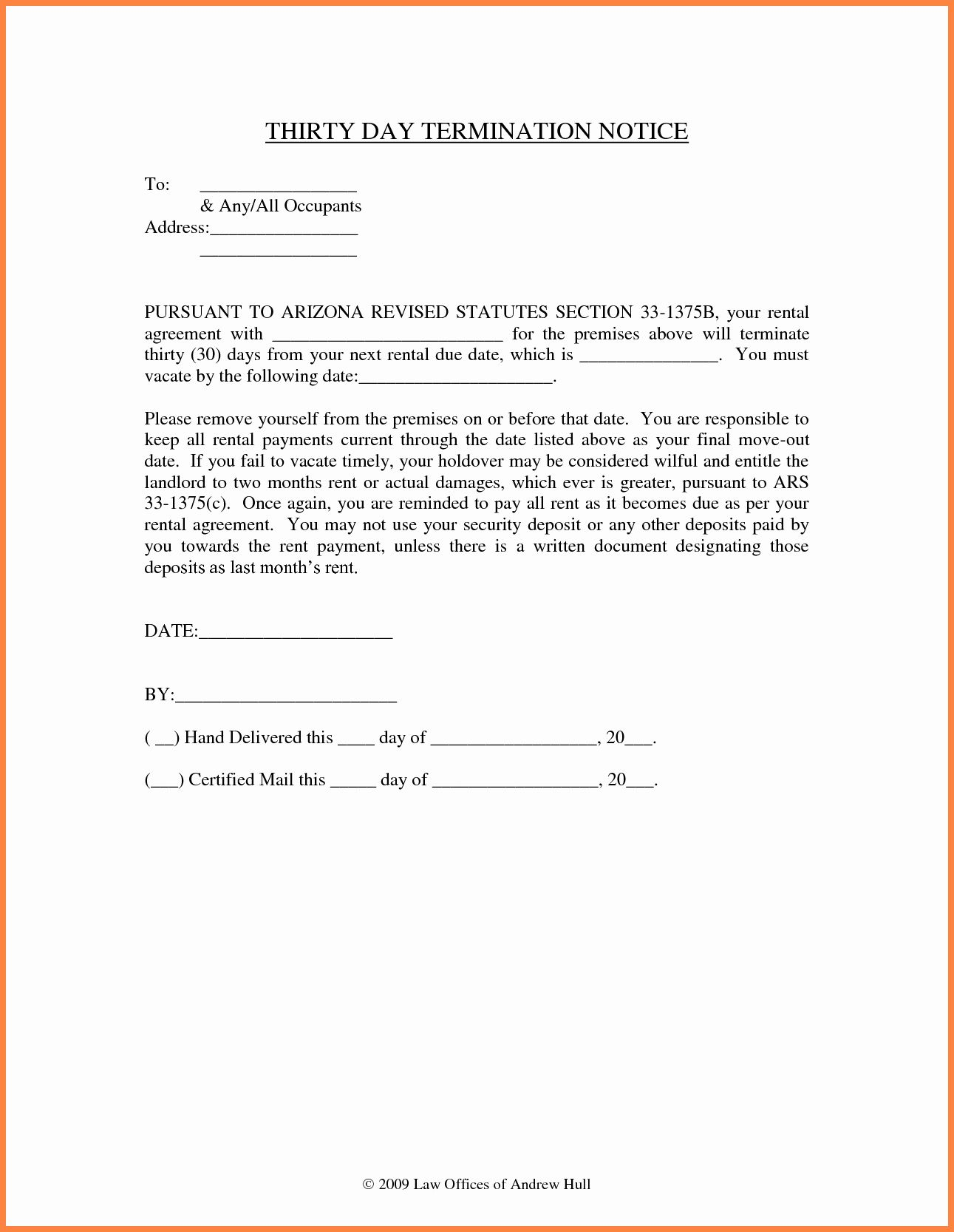 Notice To Vacate Letter Template Elegant 10 Example Of 30 Day Notice To Tenant Being A Landlord Rental Agreement Templates Lettering