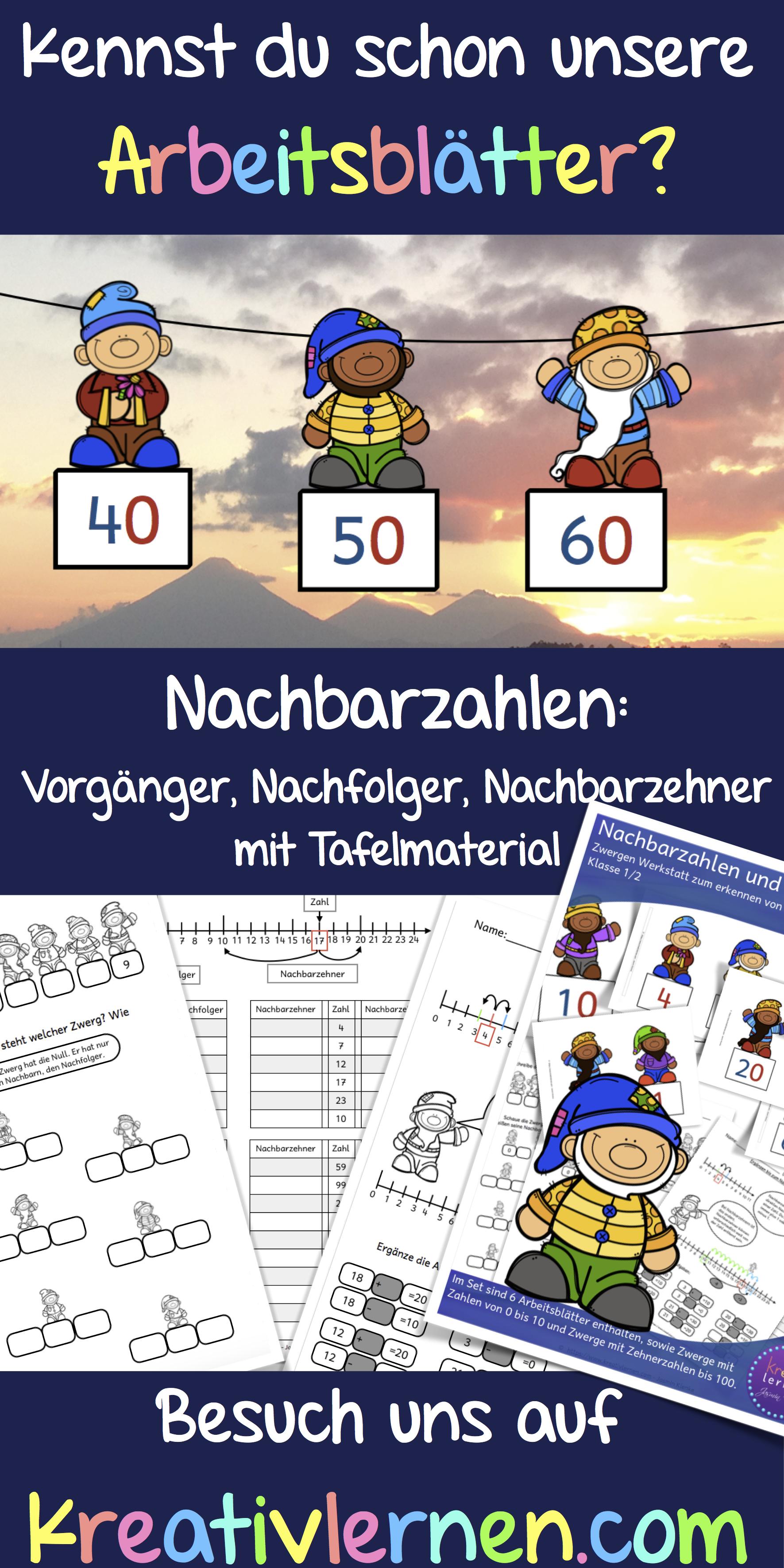 Nachbarzahlen (Vorgänger und Nachfolger) und Nachbarzehner ...