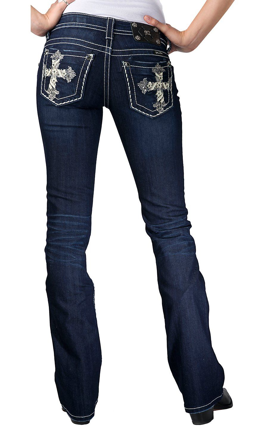 3988a9e452b Miss Me® Ladies Cream Leather & Silver Stitch Cross Open Pocket Boot Cut  Jean | Cavender's Boot City I love these jeans I just order them