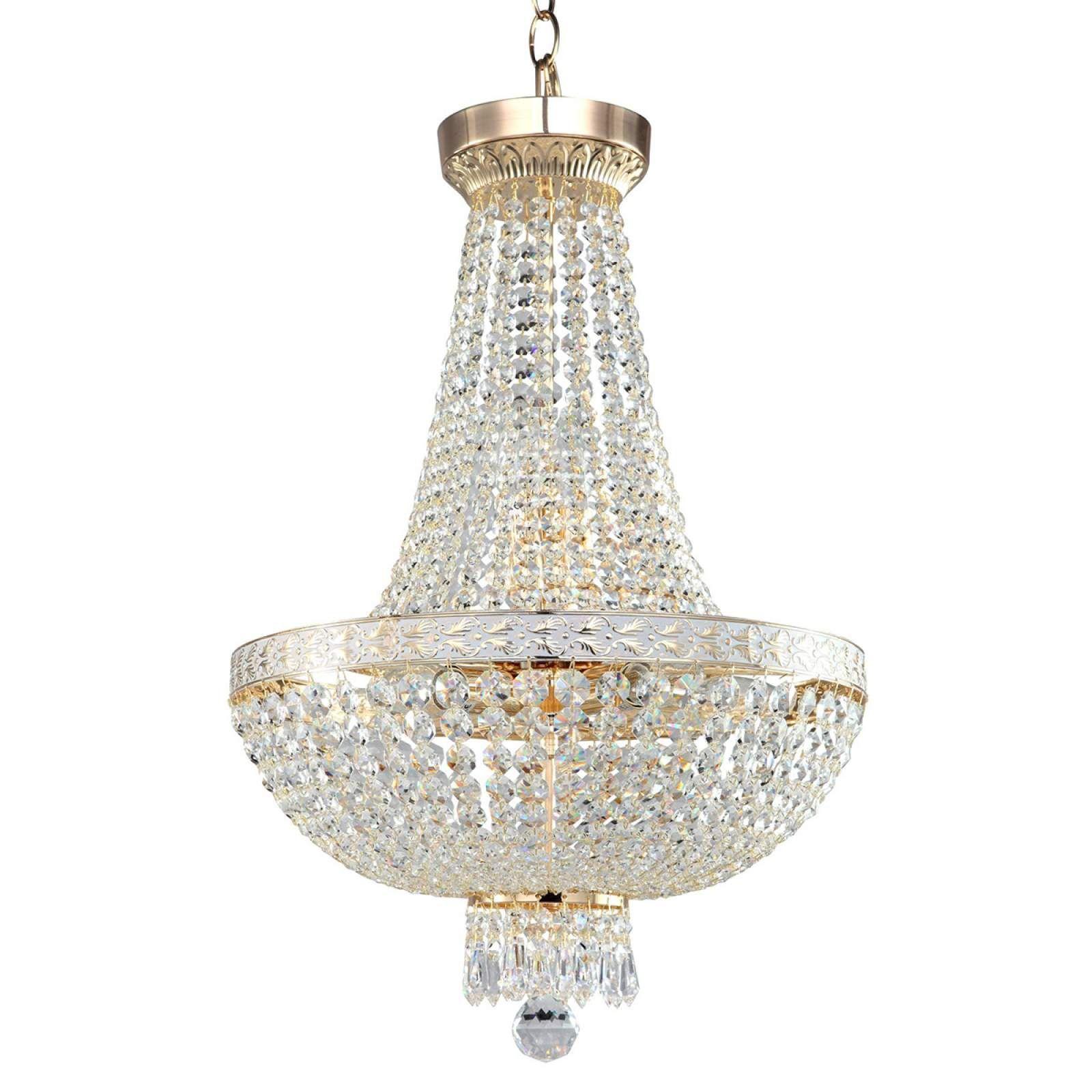 Decken Lampe Leuchte Kristall-Behang Luster Gold Beleuchtung Wohn Ess Zimmer