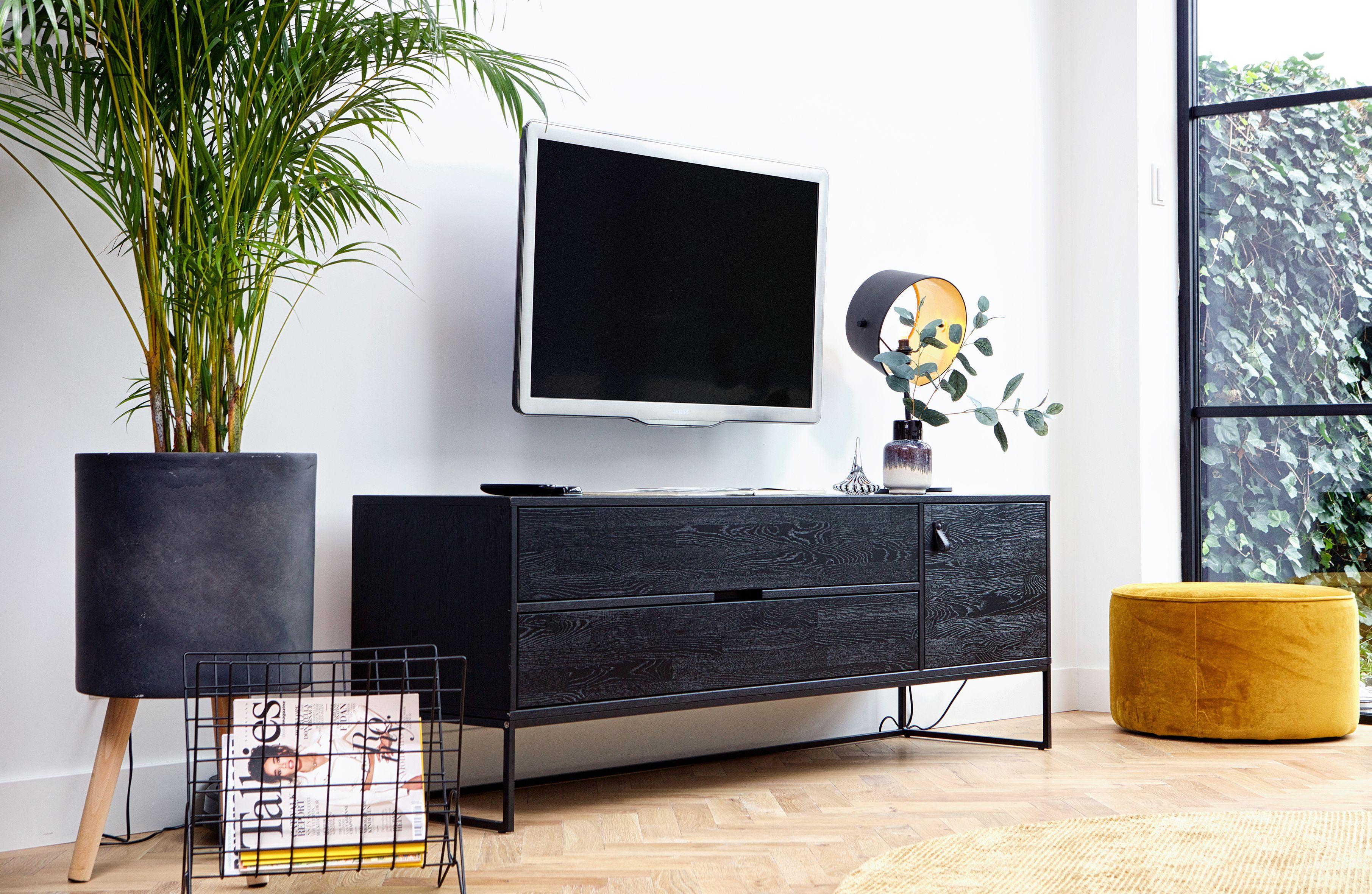 Modern Tv Meubel Zwart.Decoratief Tv Meubel Hout Zwart Op Metalen Onderstel 2 Laden