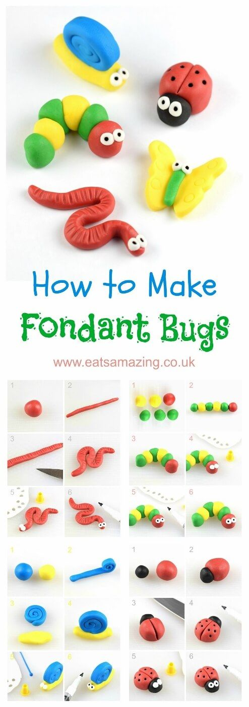 How to make easy fondant bugs for cake decorating and cupcake toppers - step by step photos from Eats Amazing UK -   21 cake decor step by step