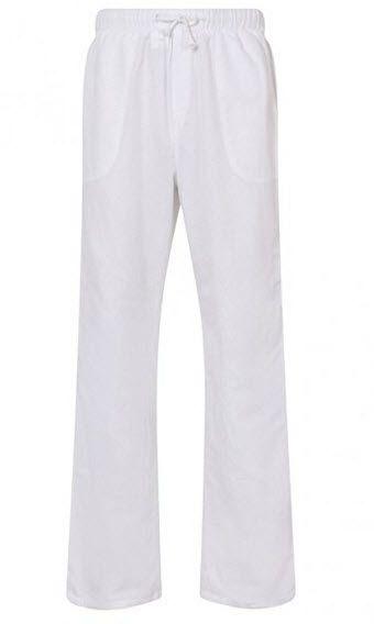 e21169aa37 Aimwell Mens Linen Light Weight Drawstring Beach Yoga Pyjama Casual Summer  Trousers – White