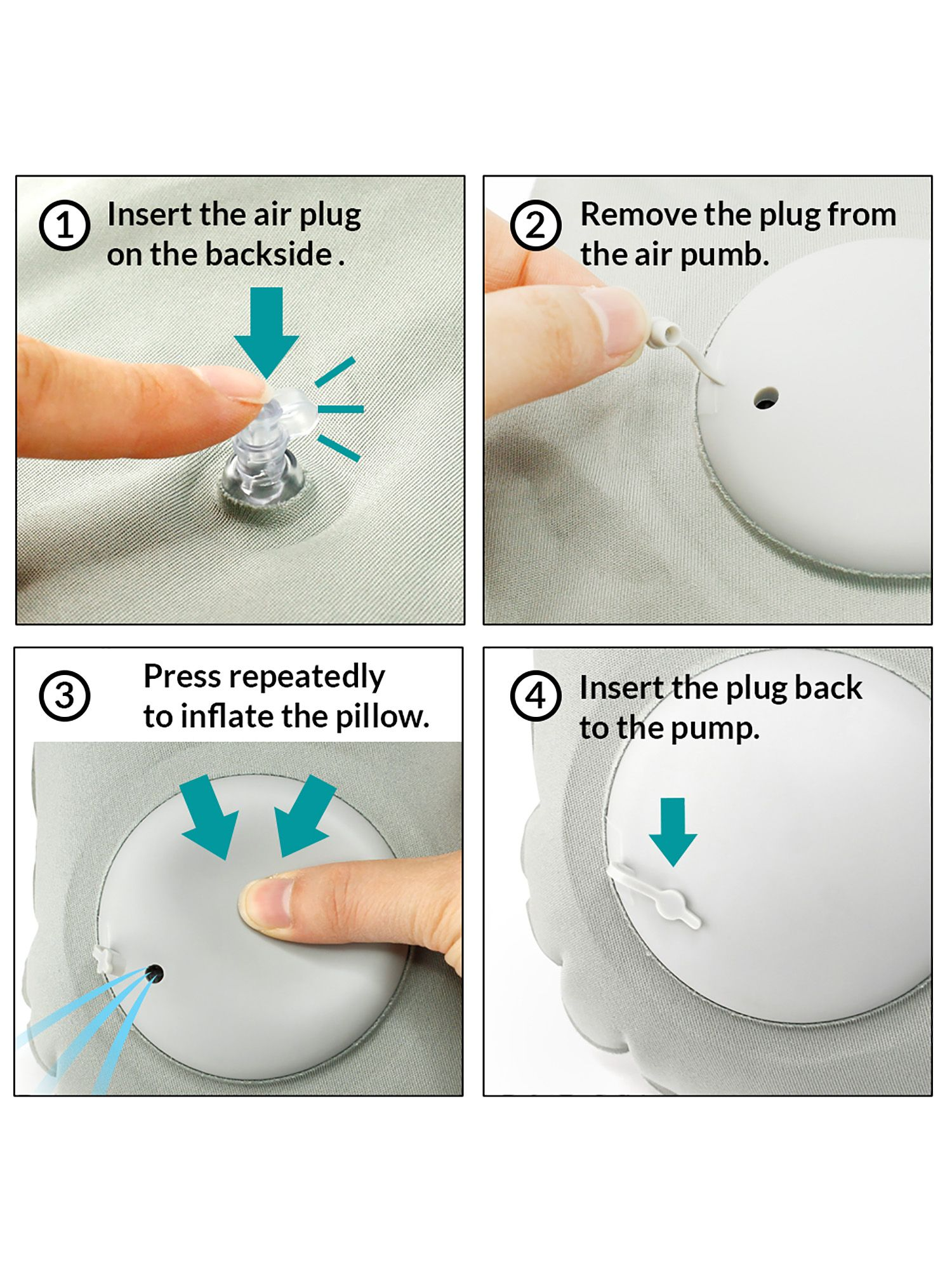 inflatable air pump travel neck pillow