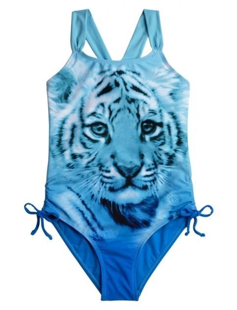 b9614a5b515 NEW Girl's Justice Blue Swimsuit Bathing Suit One Piece Size 12 Blue Silver    eBay