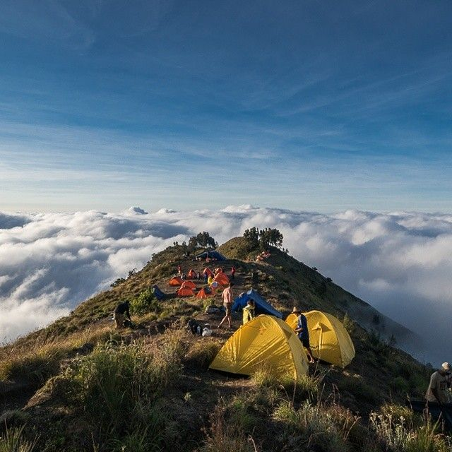Instagram's royd3n camps above the clouds in Rinjani National Park, Lombok, Indonesia.