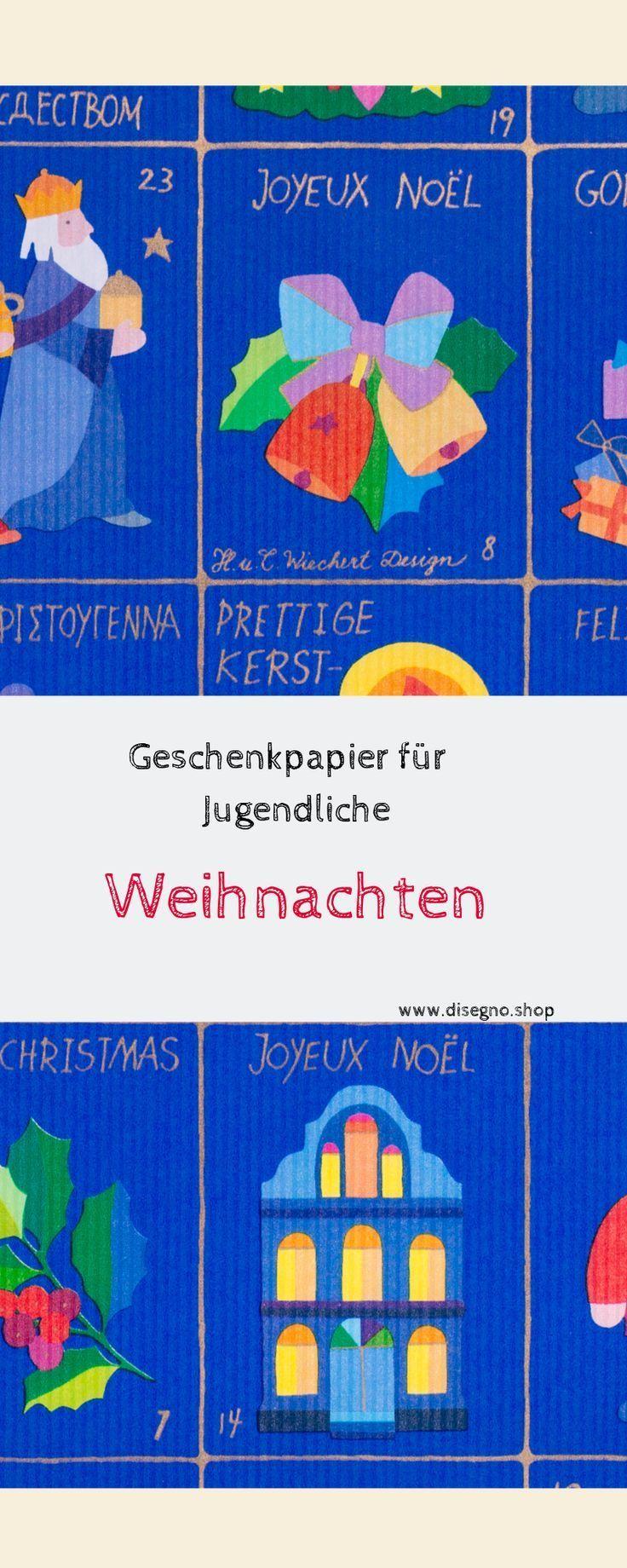 Das Geschenkpapier WEIHNACHTSZEIT – im Stil eines Adventskalenders gestaltet – e …