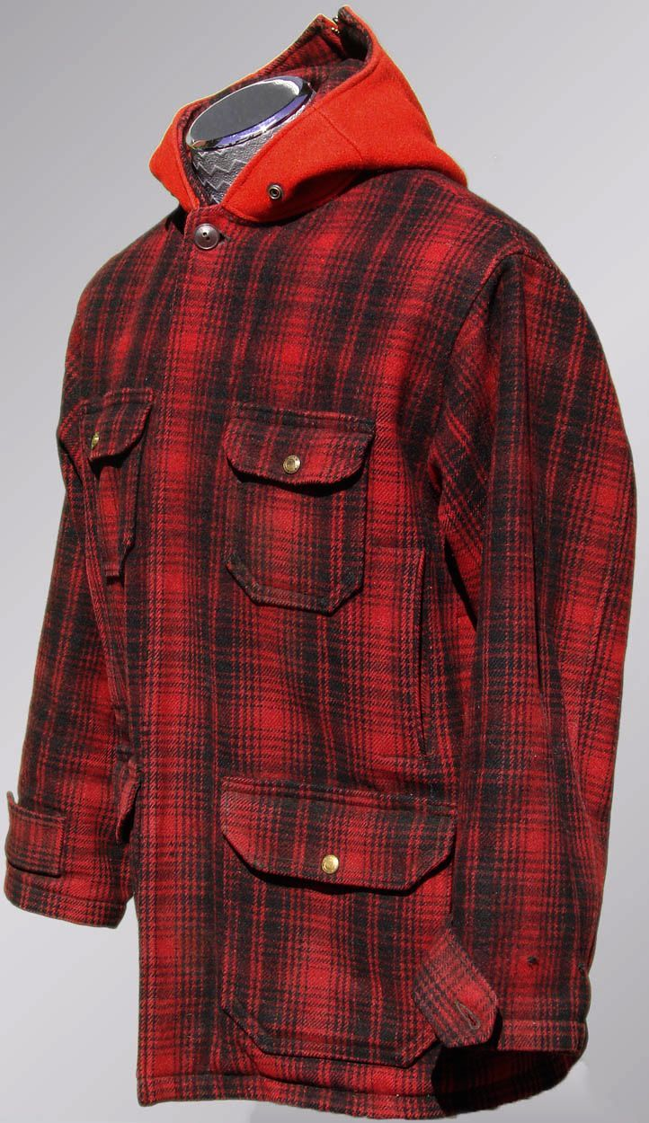 a301514fe8e06 Vintage 40s Woolrich Hunting Jacket // 1940s Red & Black Plaid Wool Mackinaw