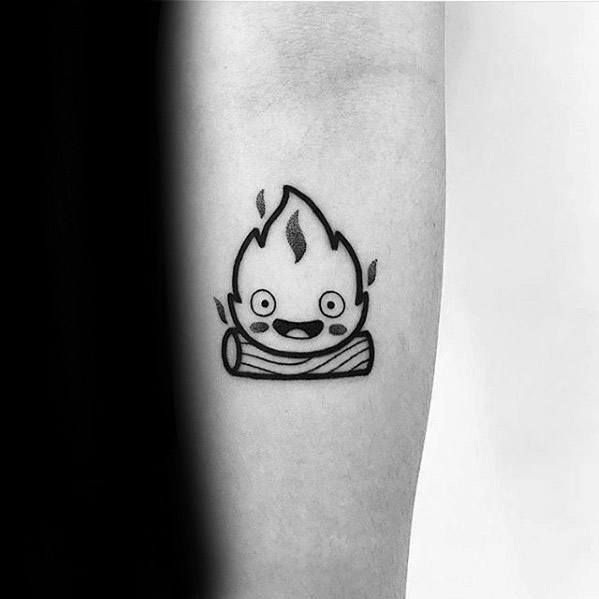 30 Calcifer Tattoo-Designs für Männer – Howl Moving Castle Ideen - Mann Stil | Tattoo