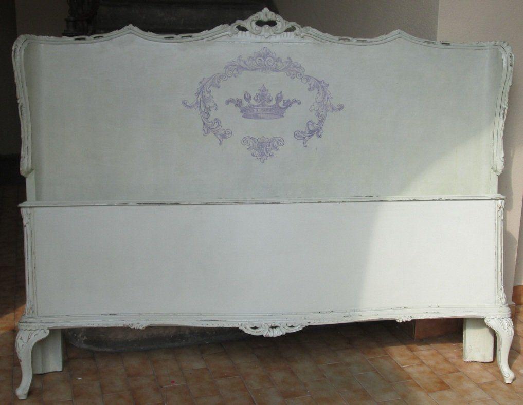 Camera Letto Matrimoniale Stile Chippendale.Vecchio Letto Matrimoniale Chippendale Dipinto Stile Shabby Chic