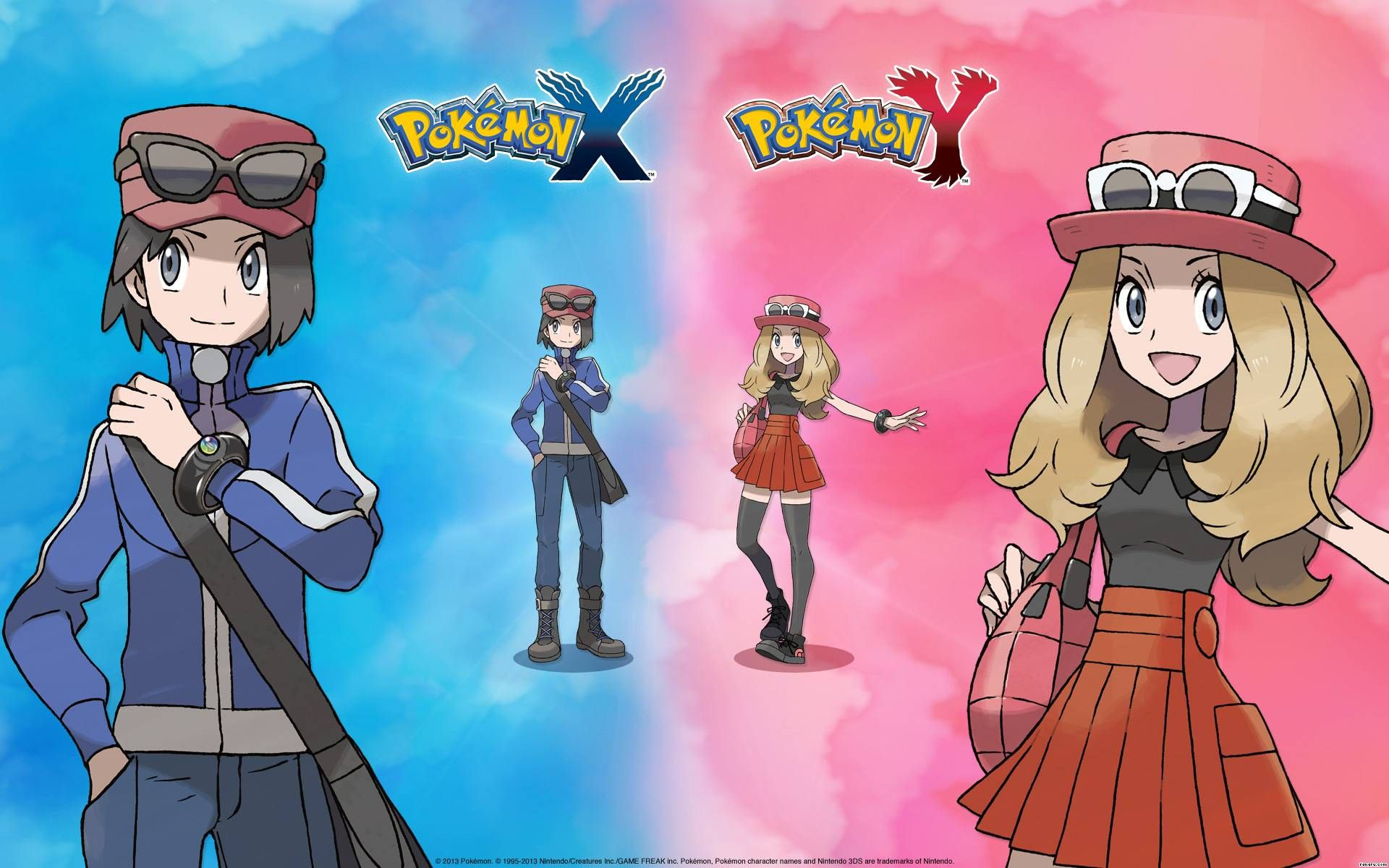 Boy and girl trainers from pokemon x and y official wallpaper of boy and girl trainers from pokemon x and y official wallpaper of pokemon x y from voltagebd Gallery