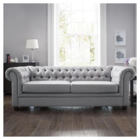double Chesterfield Fabric Sofa Bed Silver Linen from our Tescocom